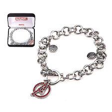 Avengers NIB * A Logo Charm Bracelet * Bling Gems Silver Stainless Steel Marvel