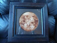 GENUINE ART DECO LARGE SQUARE OAK PHOTO/ PICTURE FRAME CIRCULAR APERTURE AG20