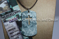 Stahl Cross SOLDIERS Steel DOG TAG NECKLACE Camo Pendant NEW Camouflage US Army