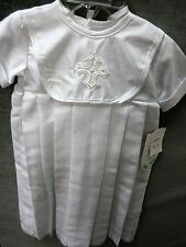 NWT Boy's long christening gown & hat with appliqued  cross/ size  6-12 months
