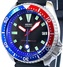 "Vintage SEIKO diver 7002 PEPSI mod w/RED Plongeur & BLUE ""Meatball"" SS hand set!"
