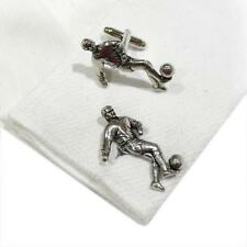 Silver Handmade in England Football Player Cufflinks Pewter Ball Cuff Links New