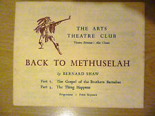 .1947 Arts Theatre Club Programme: BACK TO METHUSELAH Part 2 & 3:by Bernard Show