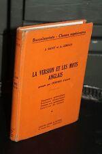 La version et les mots anglais - Bac Classes supérieures - Didier & Richard 1954