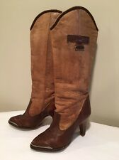 WOMENS VINTAGE ZODIAC BROWN GENUINE LEATHER COWBOY BOOTS SZ 5.5 M