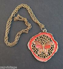 Vintage 1970's Large Pendant Butterfly Coral / Pink Necklace Jewelry