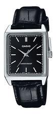 Casio MTP-V007L-1E Men's Rectangular leather Strap Black Dial Analog Dress Watch