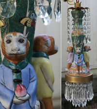 Asian Porcelain MONKEY Swag Lamp Chandelier brass tole crystal enamel Palm Tree