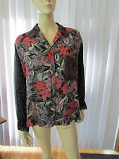 ZELDA Nothing Matches Art to Wear Blouse Sz L or XL Long Sleeves 100% Rayon VGC
