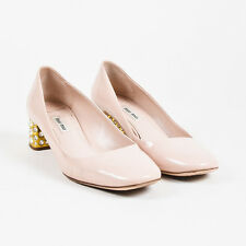 Miu Miu Nude Beige Patent Leather Crystal Embellished Low Heeled Pumps SZ 38.5