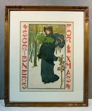 ORIGINAL VINTAGE 1895 SCRIBNERS / FOR XMAS ADVERTISING LITHOGRAPH POSTER SIGN