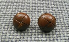 Paire de medium vintage en cuir marron football boutons manteau cardigan 20mm