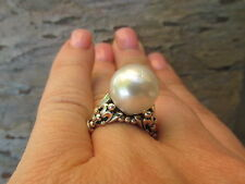 14 KT Yellow Gold & Sterling Silver Paspaley South Sea Pearl Fleur de Lis Ring