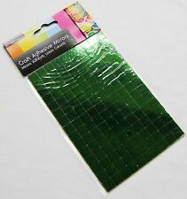 NEW 150 SELF ADHESIVE GLASS MIRROR SQUARES TILES MOSAIC ART CRAFT 1CM SIL GREEN