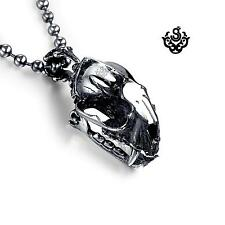 Silver skull pendant solid stainless steel necklace open-able medium