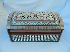 Egyptian Inlaid Treasure Mother of Pearl Jewelry Box 10 #118 Piece of Art