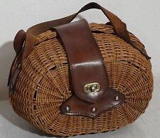 Dekorative Designer Korb Tasche Weidengeflecht und Leder made in Italy 50er-60er