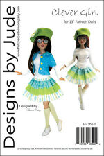 """Clever Girl Doll Clothes Sewing Pattern 13"""" Fashion Body Agatha & Revlon Tonner"""