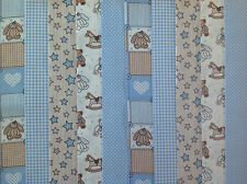 48 X 2 INCH STRIPS COTTON PATCHWORK FABRIC BLUE TEDDIES 22 INCH LONG