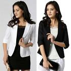 Elegant Women Blazer 3/4 Sleeve One Button Short OL Suit Coat Jacket Outwear A49