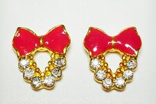 Deep Pink Bow Enamel Effect Stud Earrings Gold Tone 10 x 15mm