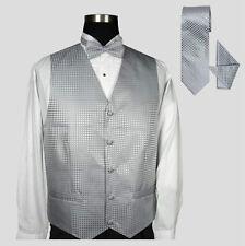 Men's Tuxedo Vest 4pc Set #002 - Jacquard Vest w/ Bow Tie Hanky & Neck Tie