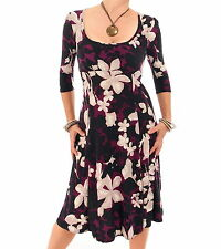 Just Blue - New Teal or Plum Floral Print A Line Dress - 3/4 Length Sleeves