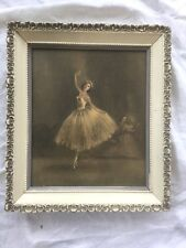Vintage Victorian Shabby Cottage Chic Ballerina Print Wood Frame 11 X 13