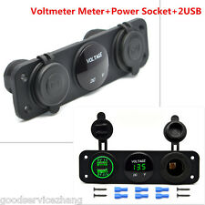 GREEN LED CAR BOAT VOLT METER USB PORT CIGARETTE SOCKET SWITCH PANEL MOUNT KIT