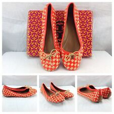 Tory Burch NEW Sexy Neon Orange Woven Checkered Ballet Flats Shoes Sz 11 $295