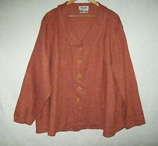 New FLAX Linen Shirt Burnt Orange Black Cross Weave 2G 2X 3X Tunic Plus Jacket