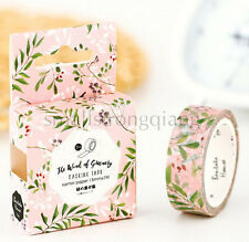 Pink green leaves Paper Sticky Lable Sticker Decorative Masking Washi Tape