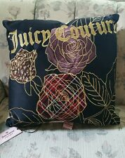 NEW! Juicy Couture - LAST ONE - Pillow -Black Silk Velour Gold Rose embroidered