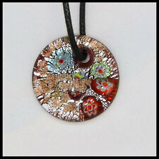 Fashion Women's round lampwork Murano art glass beaded pendant necklace #A42