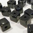 100 pieces 4mm Crystal Glass Square / Cube Beads - Black - A3001