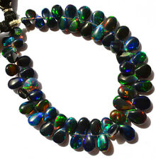 Super Flashing & Playing Fire Ethiopian Black Opal Gem Pear Briolette Beads 7""