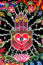 HAMSA EYE HAND Psychedelic Art UV Blacklight Poster Glow-In-The-Dark Fluorescent