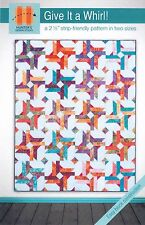 """Give It a Whirl! Quilt Pattern Jelly Roll 2.5"""" Strip Friendly 64""""x80"""" or 48""""x64"""""""