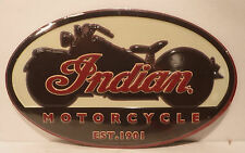 New-Indian Motorcycle Est.1901 Embossed Oval Metal Sign Chopper Man Cave Garage