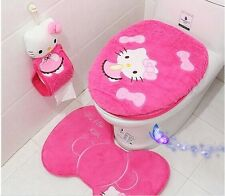 New rose Red  Hello Kitty Toilet Seat Cover Cartoon Bathroom Lid Mat Set 4Pcs