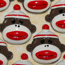 6 x Vintage Sock Monkey Classic Old Kawaii Flatback Resin Flat Backs Cabochons