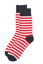 Mens Fun Groomsmen Colorful Fashion Designer Dress Socks Mr.ZZ Red Stripes