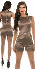 Bronze cappuccino satin playsuit shorts & Top in sizes 10  playsuit sexy glitter