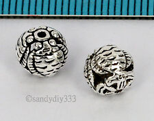2x BALI STERLING SILVER FLOWER FISH FORTUNE FOCAL ROUND SPACER BEAD 7.8mm #2624