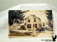 RPPC Lady Woman Mistress With 2-Storey City House Wooden Walkway