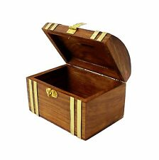 Money Box Bank Cash Safe Security Storage Hand Carved Treasure Chest Urban Home