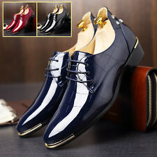 UK Mens Patent Leather Pointy Toe Lace Up Oxfords Gothic Formal Dress Shoes