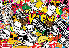 x3 Drift sticker bombing sheets A4 sticker bomb decal Euro style drift vw JDM