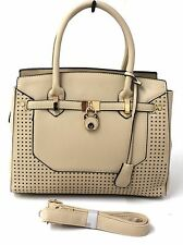 Women Ladies Leather Style Designer Inspired Padlock Tote Shoulder Handbag Beige