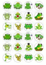 24 FROG FROGS  CUPCAKE TOPPERS ICED ICING FAIRY CAKE BUN TOPPERS